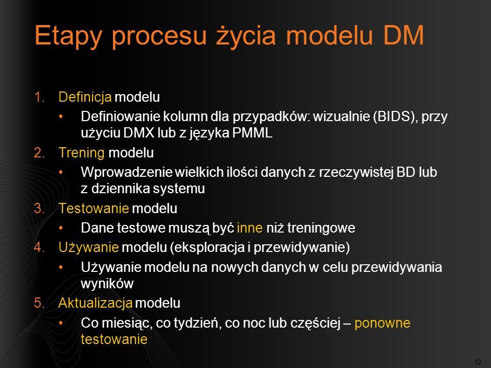 Etapy procesu życia modelu DM