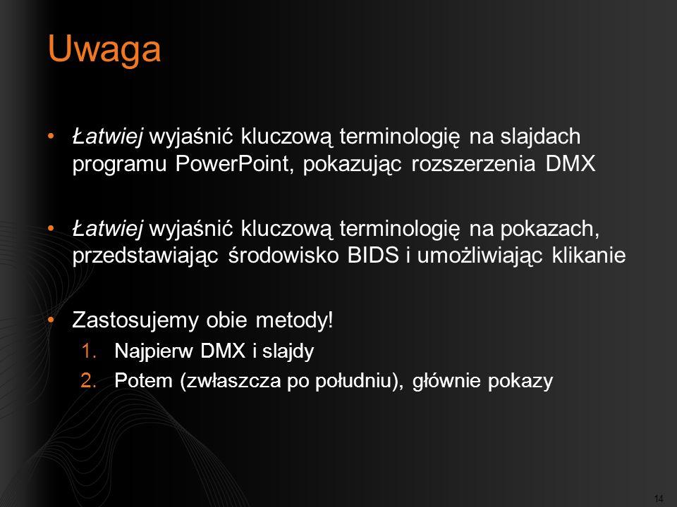 Uwaga Łatwiej wyjaśnić kluczową terminologię na slajdach programu PowerPoint, pokazując rozszerzenia DMX.