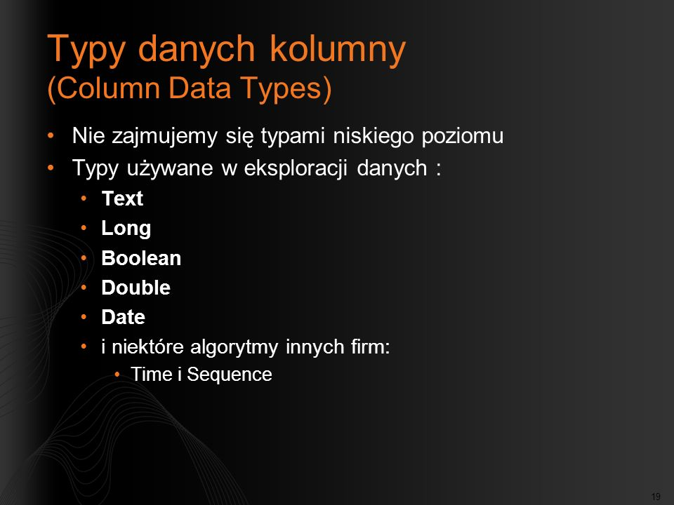 Typy danych kolumny (Column Data Types)