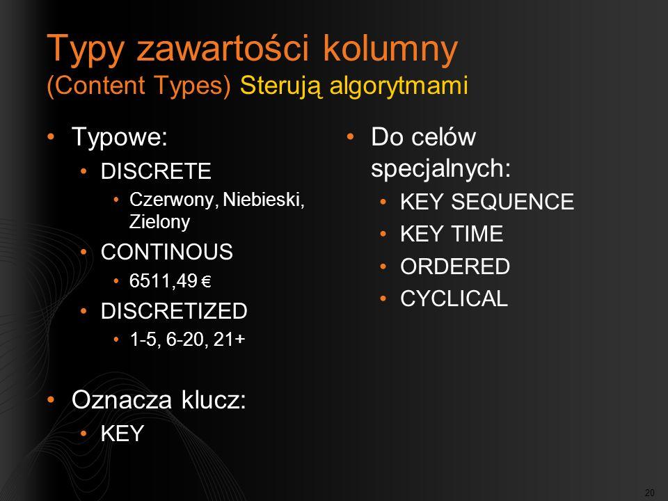 Typy zawartości kolumny (Content Types) Sterują algorytmami
