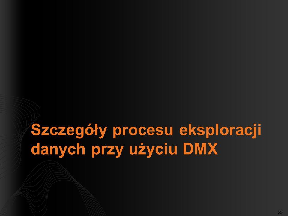 Szczegóły procesu eksploracji danych przy użyciu DMX