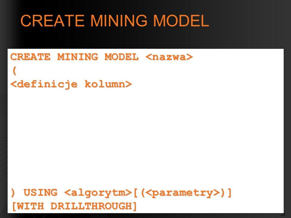 CREATE MINING MODEL CREATE MINING MODEL <nazwa> (