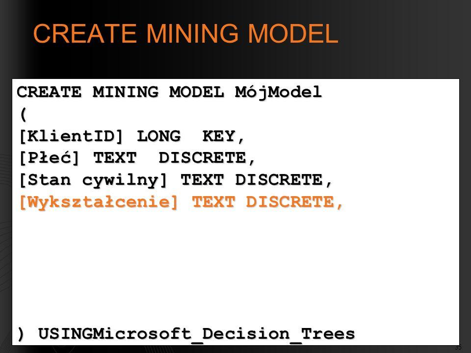 CREATE MINING MODEL CREATE MINING MODEL MójModel (