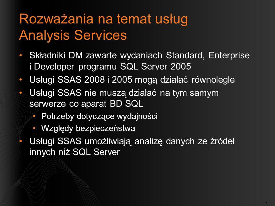 Rozważania na temat usług Analysis Services