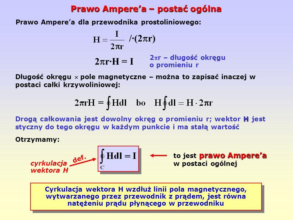 /·(2r) 2r·H = I Prawo Ampere'a – postać ogólna