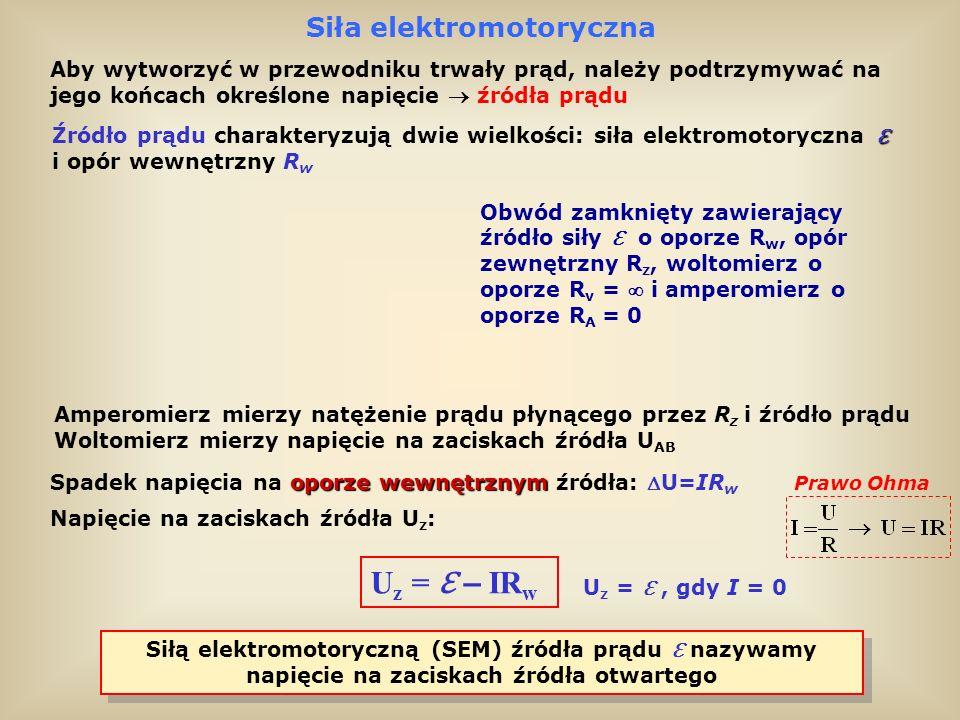 Uz = ℇ – IRw Siła elektromotoryczna