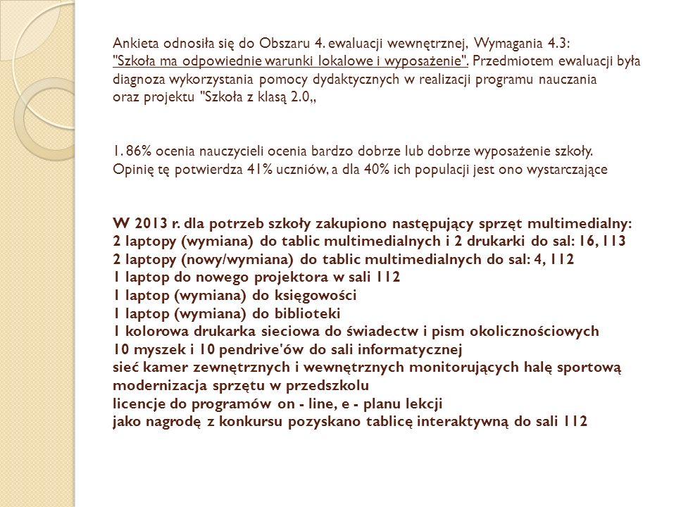 Ankieta odnosiła się do Obszaru 4. ewaluacji wewnętrznej, Wymagania 4