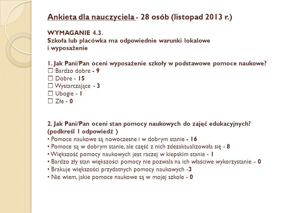 Ankieta dla nauczyciela - 28 osób (listopad 2013 r. ) WYMAGANIE 4. 3