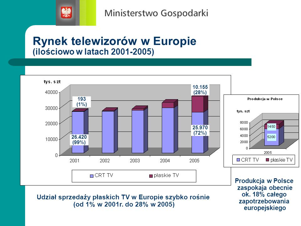 Rynek telewizorów w Europie (ilościowo w latach 2001-2005)
