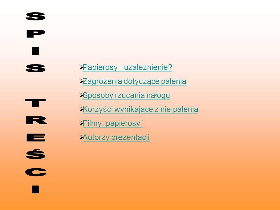 SPIS TREŚCI Papierosy - uzależnienie Zagrożenia dotyczące palenia