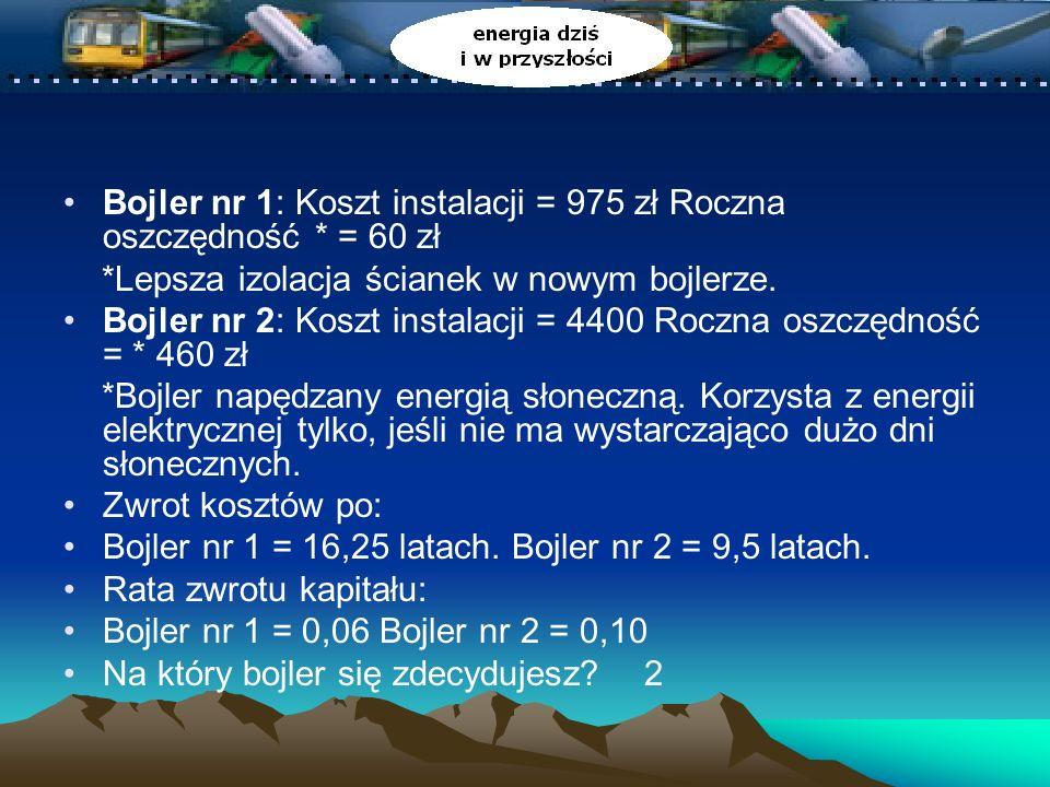 Bojler nr 1: Koszt instalacji = 975 zł Roczna oszczędność * = 60 zł