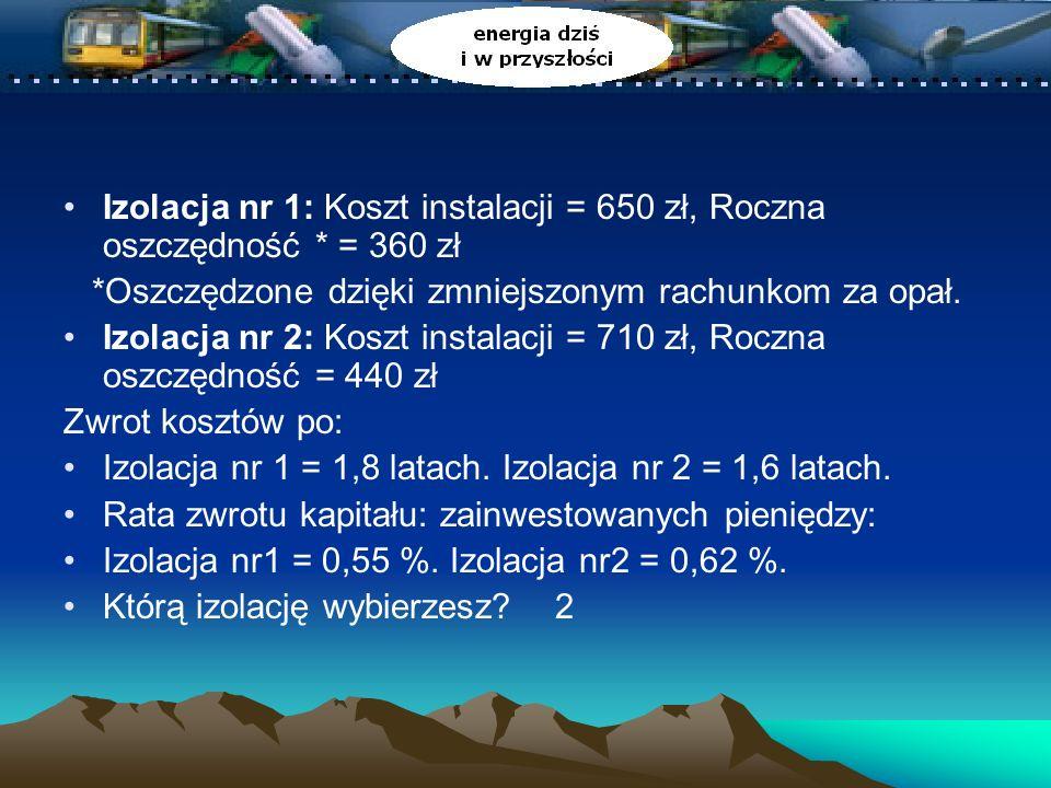 Izolacja nr 1: Koszt instalacji = 650 zł, Roczna oszczędność * = 360 zł