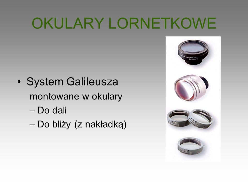 OKULARY LORNETKOWE System Galileusza montowane w okulary Do dali