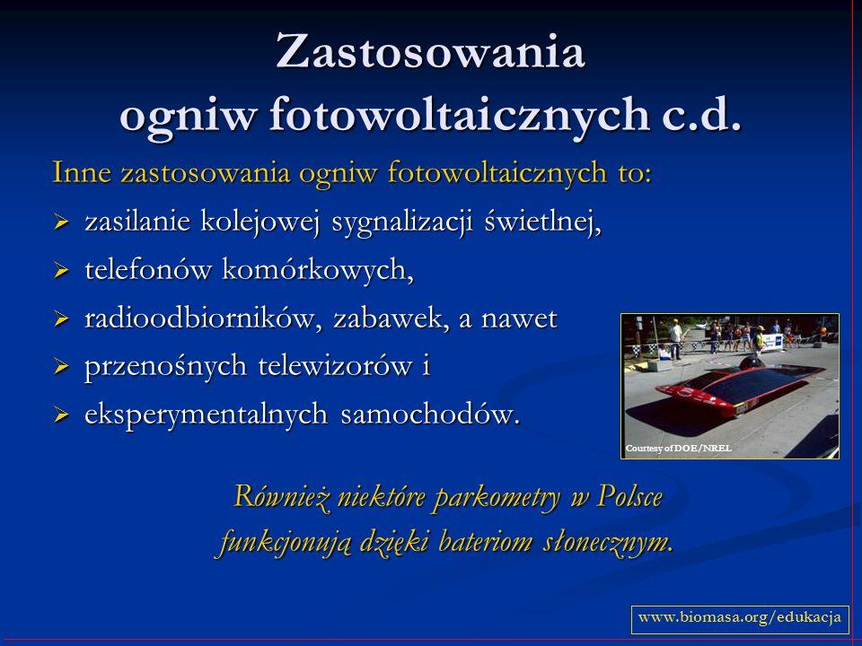 Zastosowania ogniw fotowoltaicznych c.d.