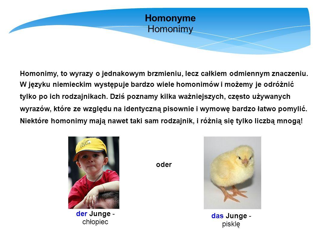 Homonyme Homonimy. Homonimy, to wyrazy o jednakowym brzmieniu, lecz całkiem odmiennym znaczeniu.