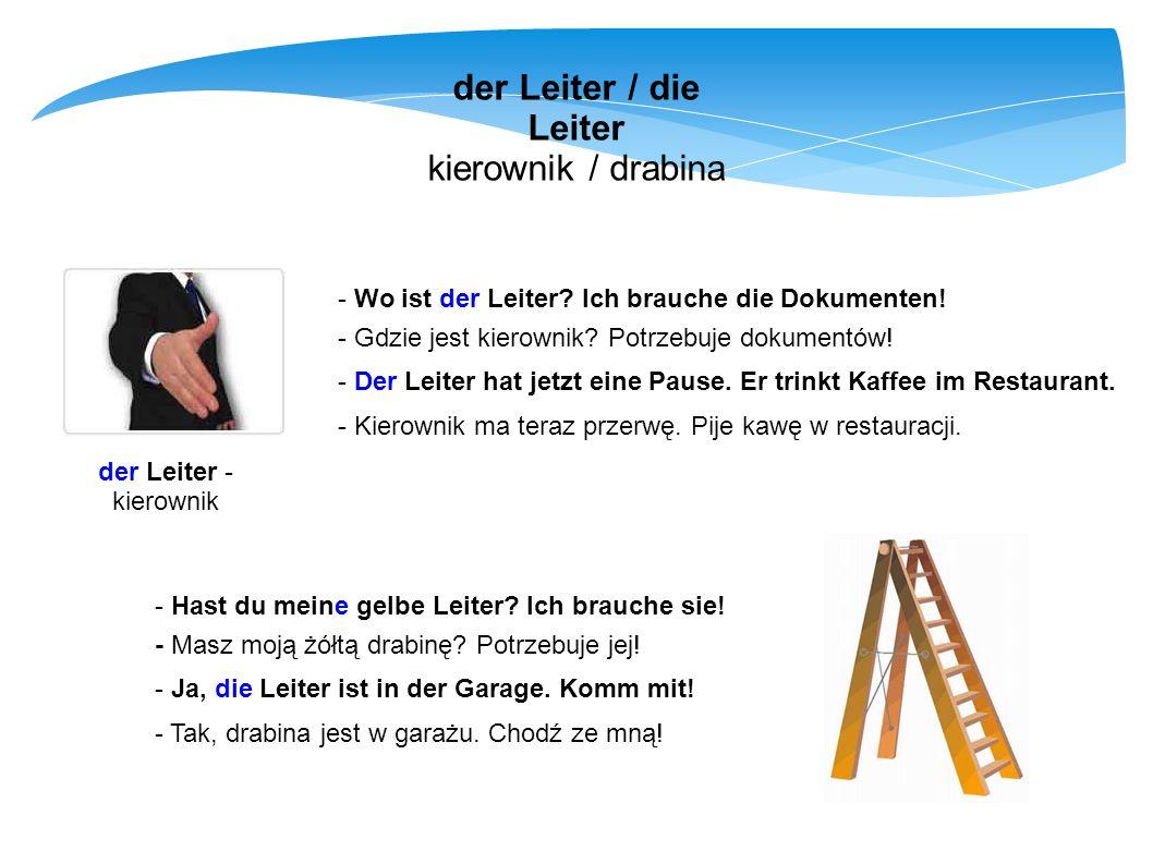 der Leiter / die Leiter kierownik / drabina