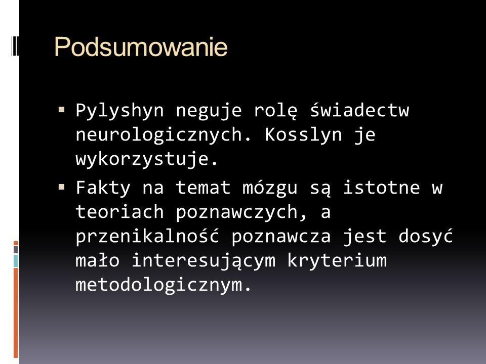 Podsumowanie Pylyshyn neguje rolę świadectw neurologicznych. Kosslyn je wykorzystuje.