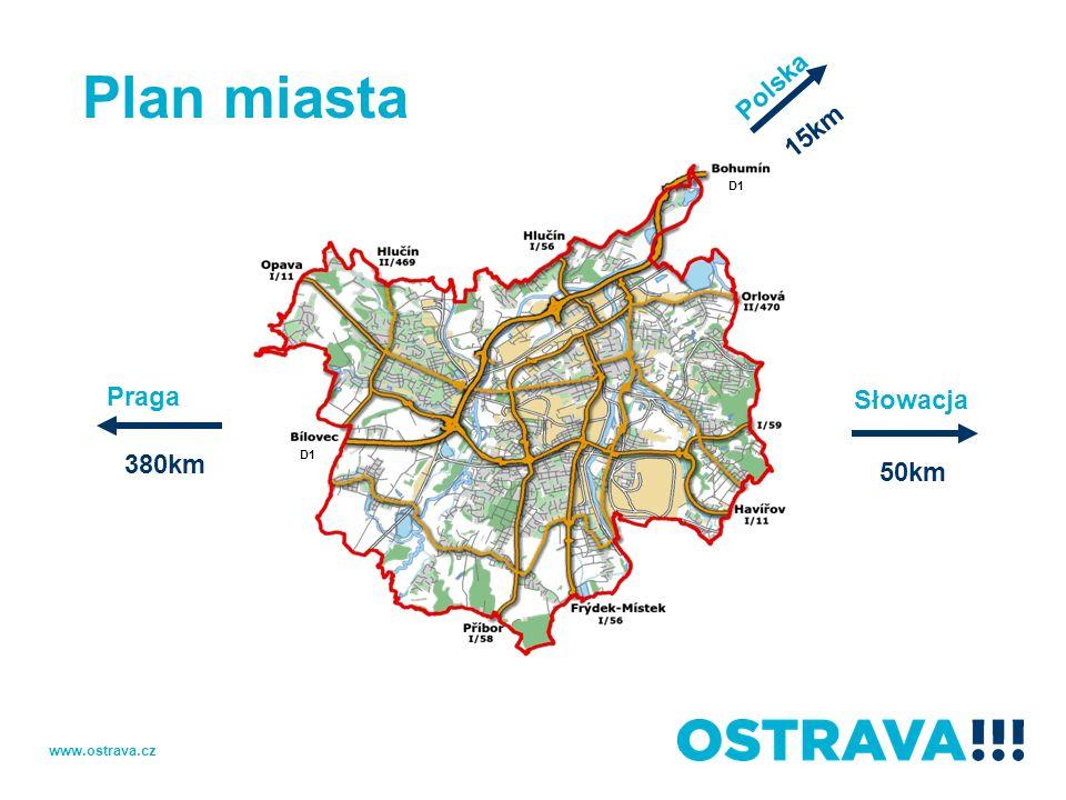 Plan miasta Polska 15km D1 Praga Słowacja 380km D1 50km www.ostrava.cz