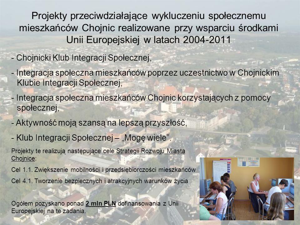 Projekty przeciwdziałające wykluczeniu społecznemu mieszkańców Chojnic realizowane przy wsparciu środkami Unii Europejskiej w latach 2004-2011