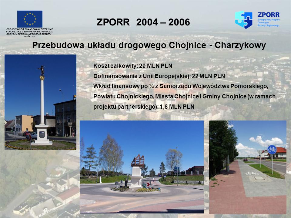 ZPORR 2004 – 2006 Przebudowa układu drogowego Chojnice - Charzykowy