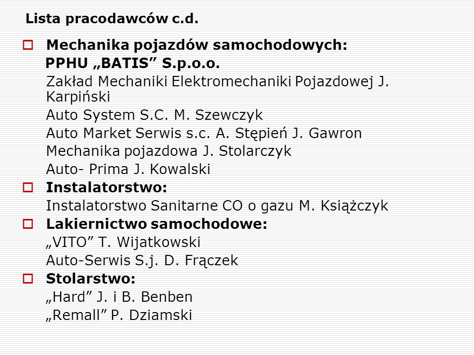 """Mechanika pojazdów samochodowych: PPHU """"BATIS S.p.o.o."""