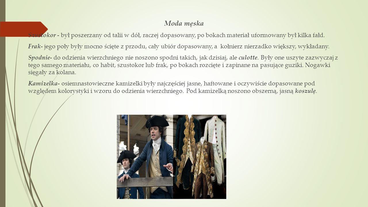Moda męska Szustokor - był poszerzany od talii w dół, raczej dopasowany, po bokach materiał uformowany był kilka fałd.
