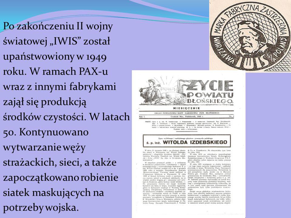 """Po zakończeniu II wojny światowej """"IWIS został upaństwowiony w 1949 roku."""