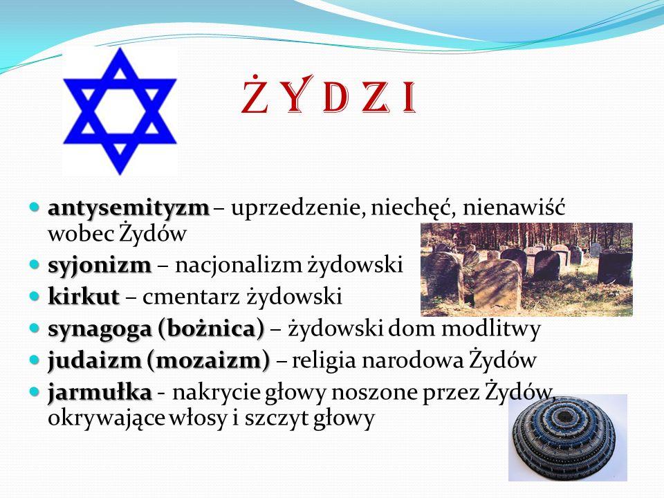 Ż y d z i antysemityzm – uprzedzenie, niechęć, nienawiść wobec Żydów