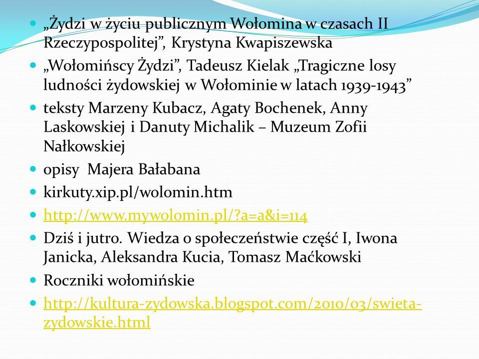 """""""Żydzi w życiu publicznym Wołomina w czasach II Rzeczypospolitej , Krystyna Kwapiszewska"""