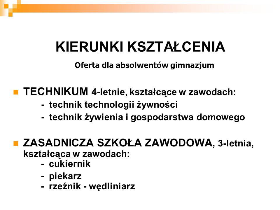 Oferta dla absolwentów gimnazjum