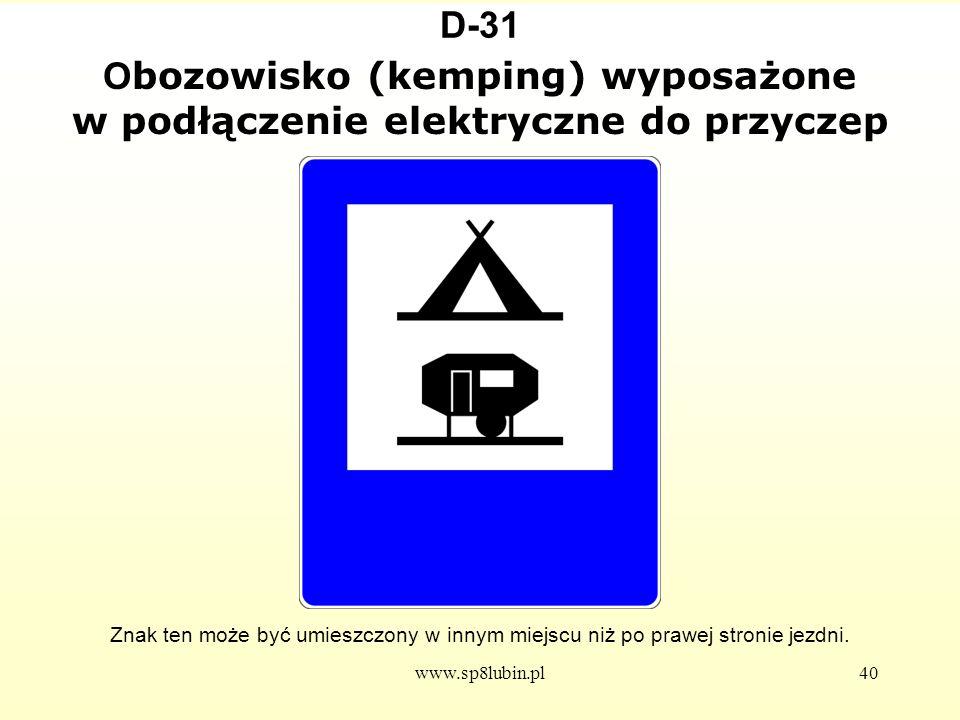 Obozowisko (kemping) wyposażone w podłączenie elektryczne do przyczep
