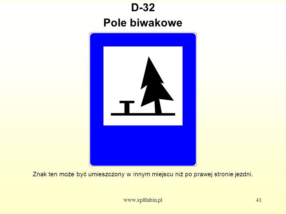 D-32 Pole biwakowe. Znak ten może być umieszczony w innym miejscu niż po prawej stronie jezdni.