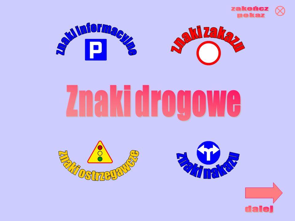 zakończ pokaz znaki informacyjne znaki zakazu Znaki drogowe znaki ostrzegawcze znaki nakazu dalej