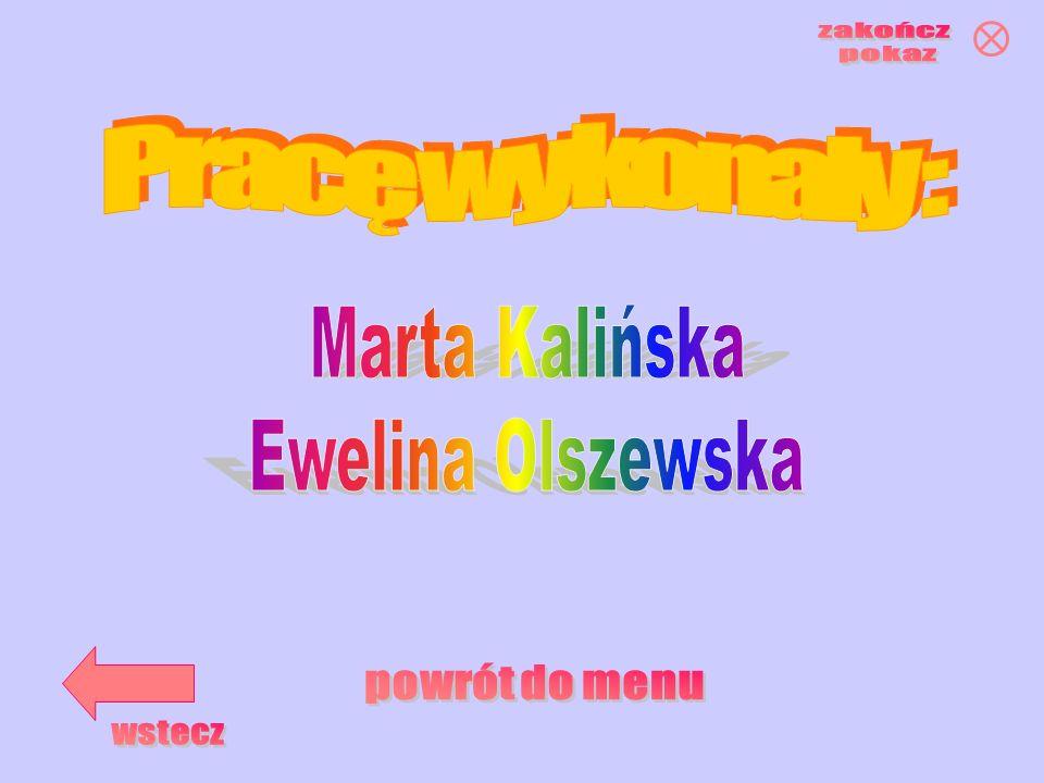 zakończ pokaz Pracę wykonały : Marta Kalińska Ewelina Olszewska powrót do menu wstecz