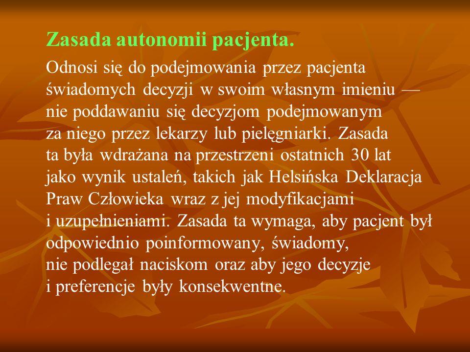 Zasada autonomii pacjenta.