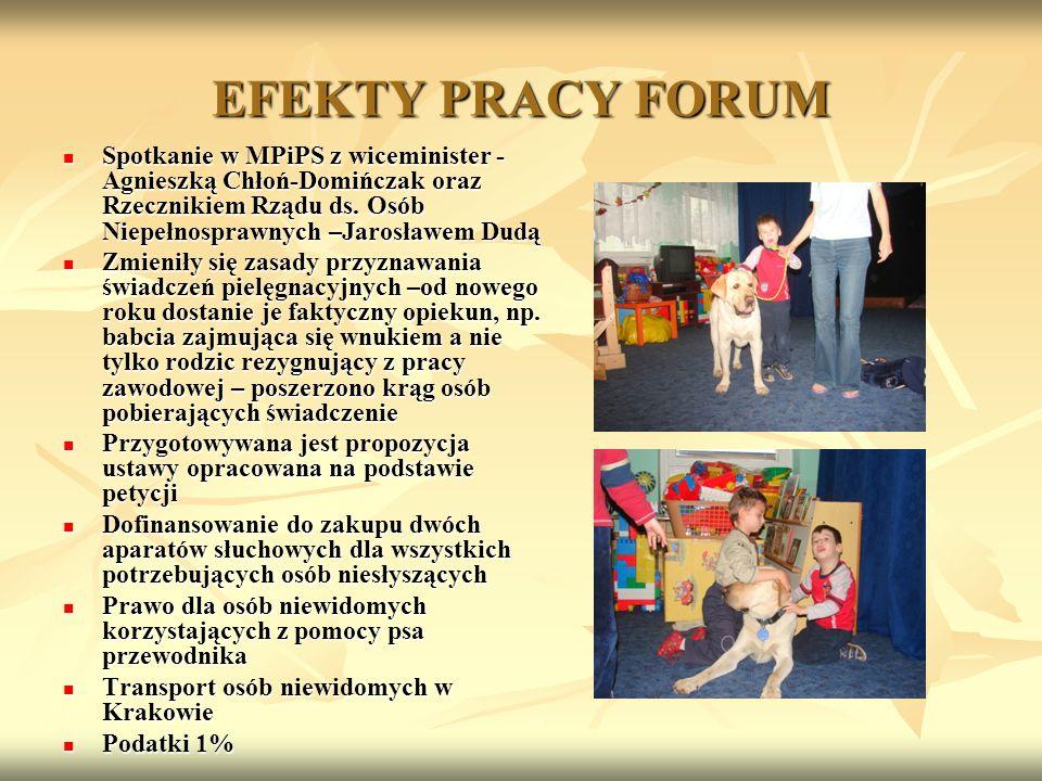EFEKTY PRACY FORUM Spotkanie w MPiPS z wiceminister - Agnieszką Chłoń-Domińczak oraz Rzecznikiem Rządu ds. Osób Niepełnosprawnych –Jarosławem Dudą.