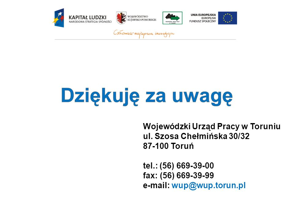 Dziękuję za uwagę Wojewódzki Urząd Pracy w Toruniu