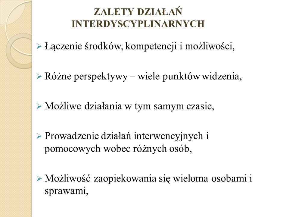 ZALETY DZIAŁAŃ INTERDYSCYPLINARNYCH