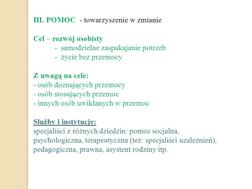 III. POMOC - towarzyszenie w zmianie