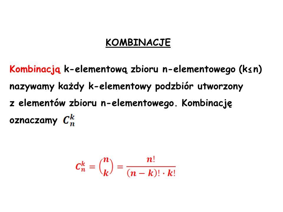 KOMBINACJE Kombinacją k-elementową zbioru n-elementowego (k≤n) nazywamy każdy k-elementowy podzbiór utworzony.