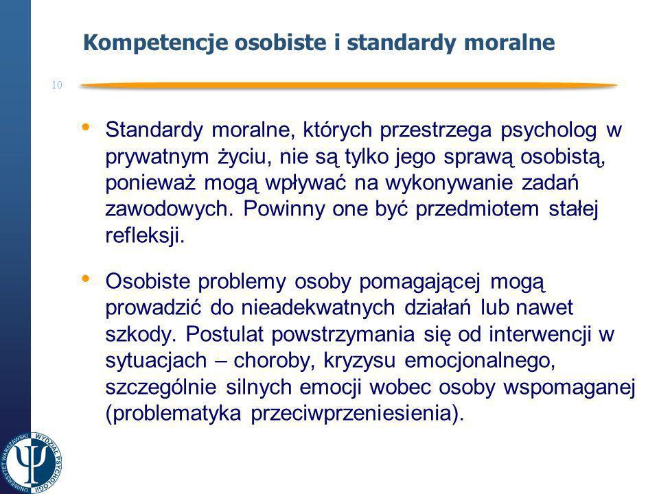 Kompetencje osobiste i standardy moralne