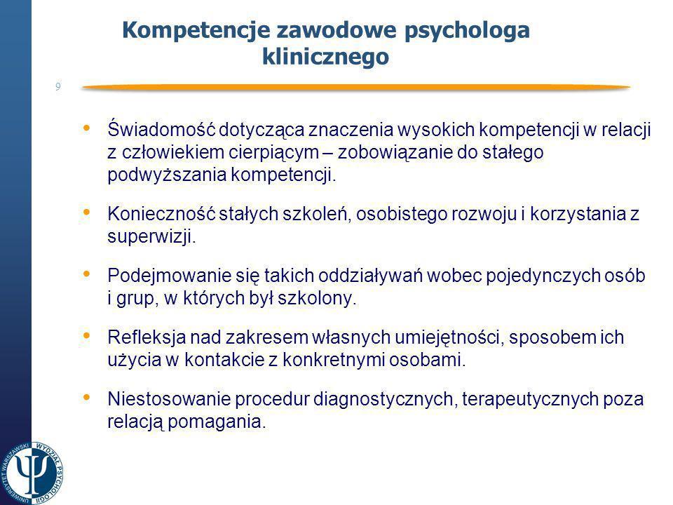 Kompetencje zawodowe psychologa klinicznego