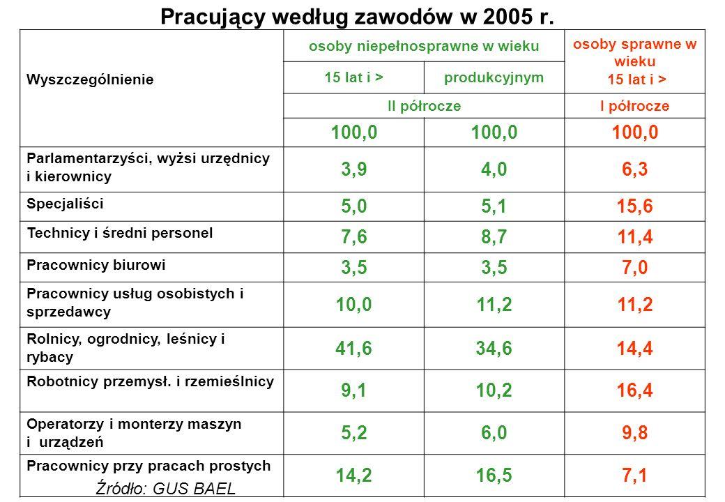 Pracujący według zawodów w 2005 r.