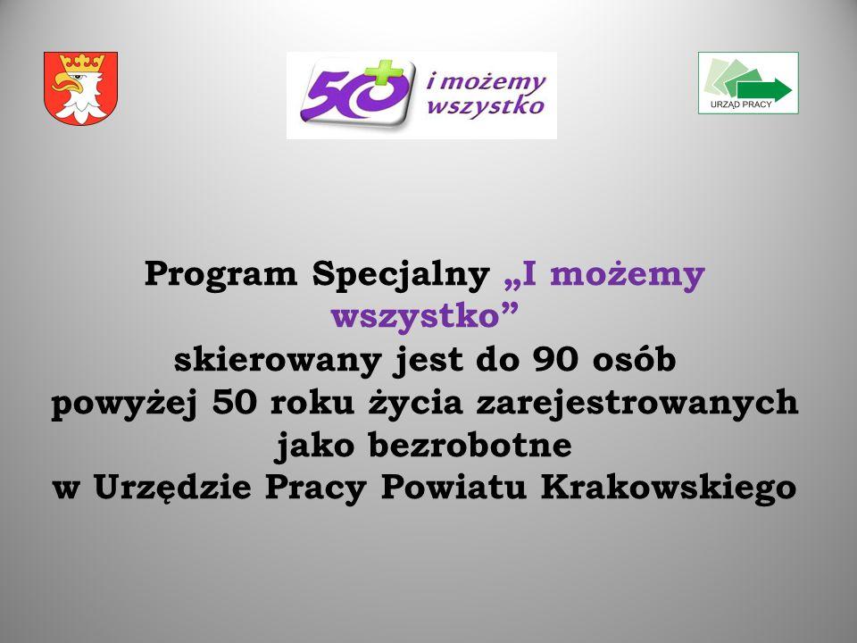 """Program Specjalny """"I możemy wszystko skierowany jest do 90 osób powyżej 50 roku życia zarejestrowanych jako bezrobotne w Urzędzie Pracy Powiatu Krakowskiego"""