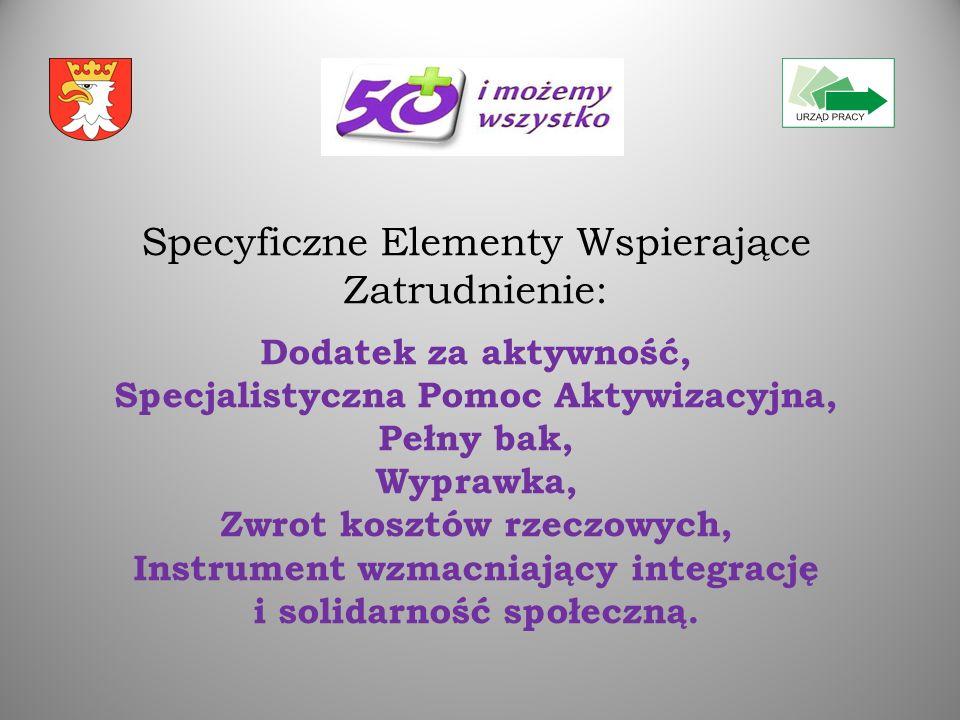 Specyficzne Elementy Wspierające Zatrudnienie: Dodatek za aktywność, Specjalistyczna Pomoc Aktywizacyjna, Pełny bak, Wyprawka, Zwrot kosztów rzeczowych, Instrument wzmacniający integrację i solidarność społeczną.