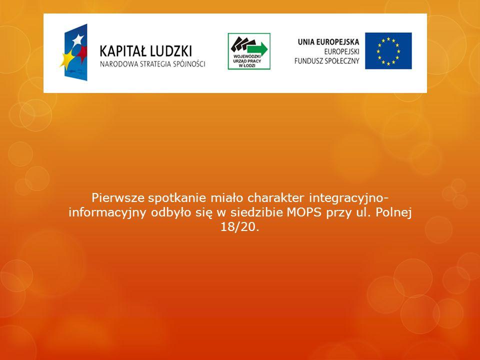 Pierwsze spotkanie miało charakter integracyjno- informacyjny odbyło się w siedzibie MOPS przy ul.