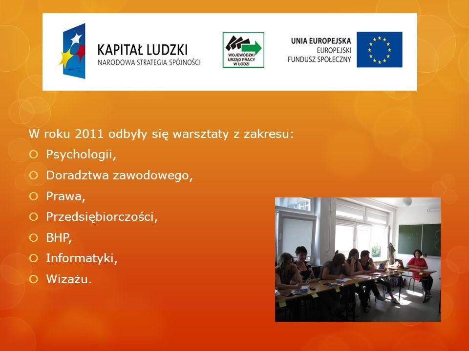 W roku 2011 odbyły się warsztaty z zakresu: