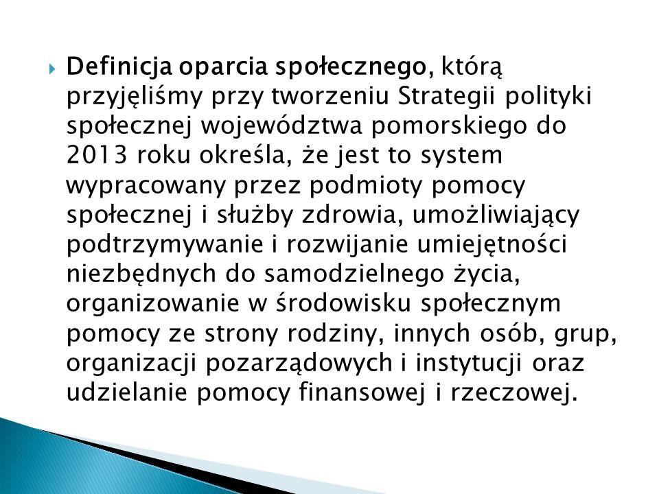 Definicja oparcia społecznego, którą przyjęliśmy przy tworzeniu Strategii polityki społecznej województwa pomorskiego do 2013 roku określa, że jest to system wypracowany przez podmioty pomocy społecznej i służby zdrowia, umożliwiający podtrzymywanie i rozwijanie umiejętności niezbędnych do samodzielnego życia, organizowanie w środowisku społecznym pomocy ze strony rodziny, innych osób, grup, organizacji pozarządowych i instytucji oraz udzielanie pomocy finansowej i rzeczowej.