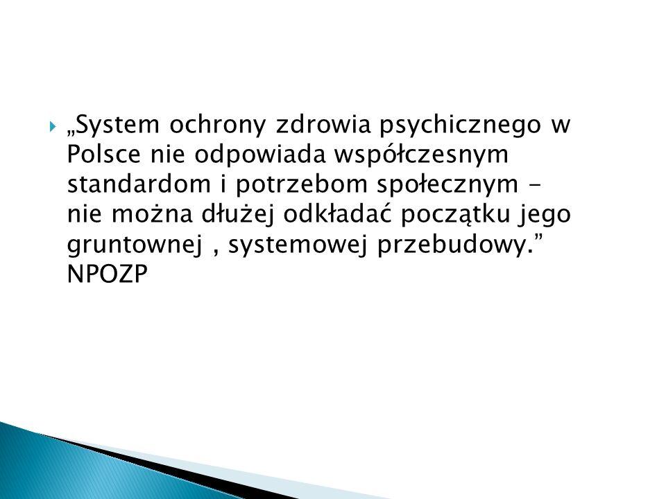 """""""System ochrony zdrowia psychicznego w Polsce nie odpowiada współczesnym standardom i potrzebom społecznym - nie można dłużej odkładać początku jego gruntownej , systemowej przebudowy. NPOZP"""