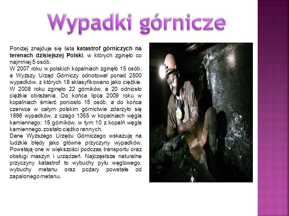 Wypadki górnicze Poniżej znajduje się lista katastrof górniczych na terenach dzisiejszej Polski, w których zginęło co najmniej 5 osób.